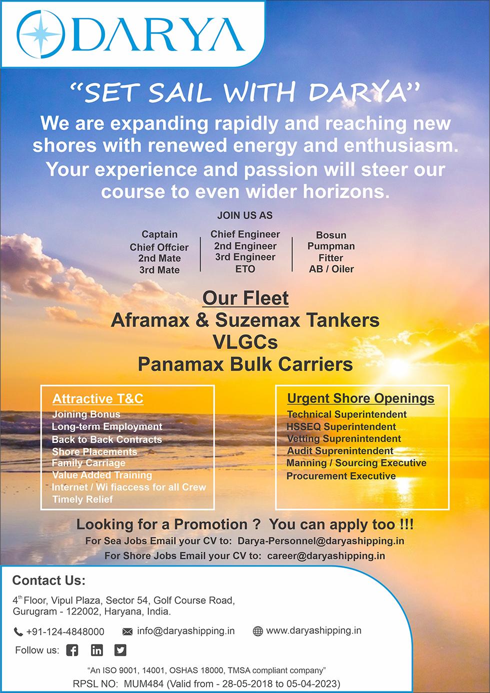Seajobs | Sea Job | Seaj | Darya Shipping Solutions