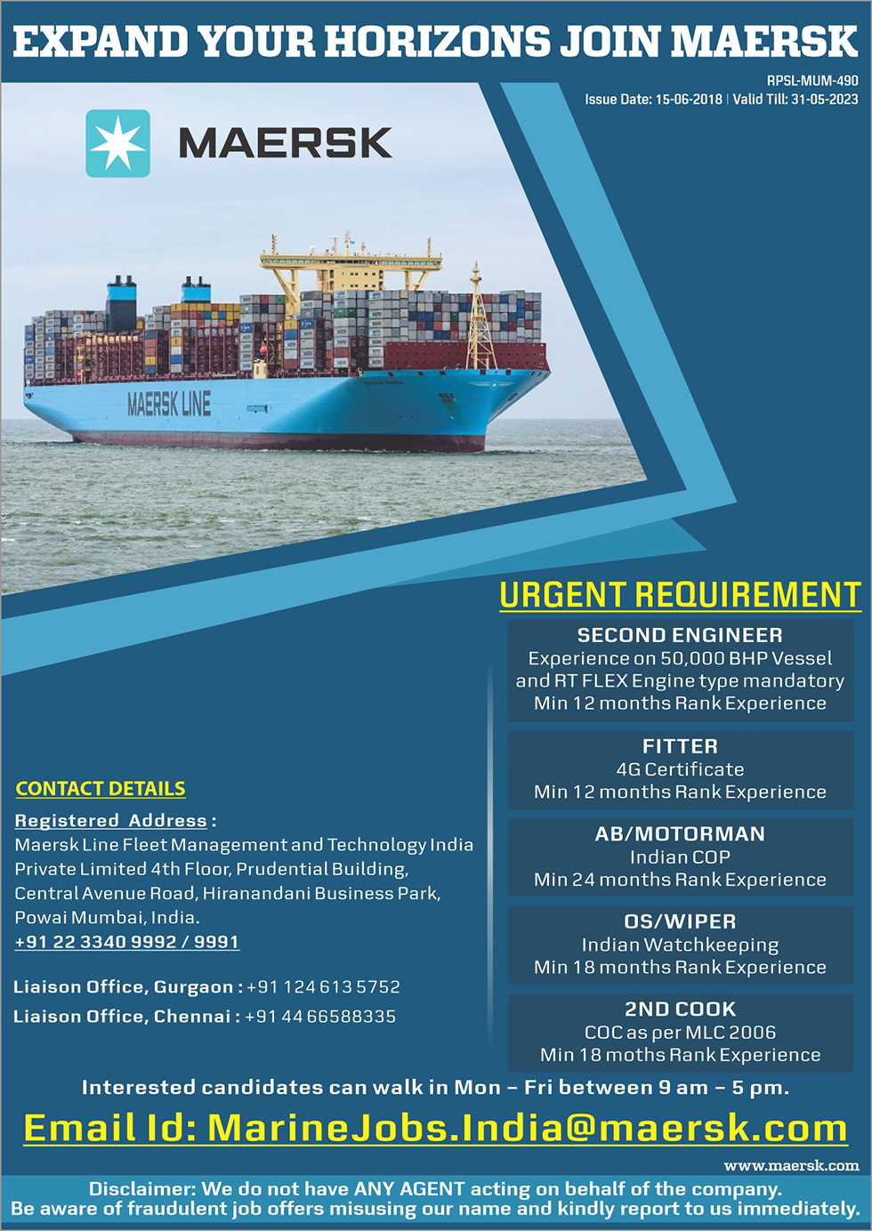 Maersk crewing | Crewing Assistance | Sea Career