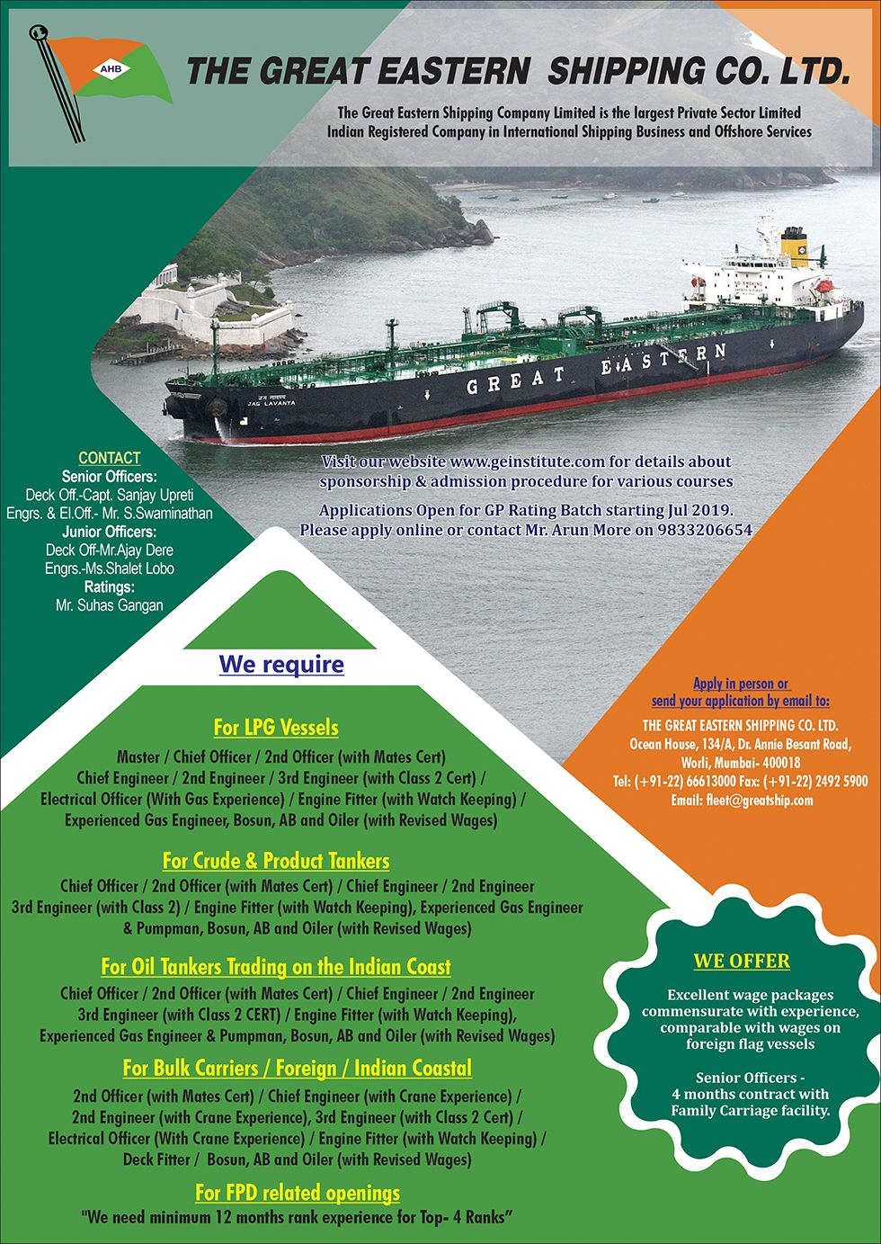 Great Eastern Shipping Company | Seaj | Seajobs